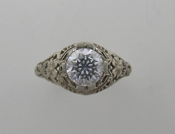 14K GOLD FILIGREE ART DECO VINTAGE STYLE  RING SETTING