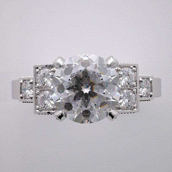 PRETTY ANTIQUE STYLE ENGAGEMENT RING SETTING WITH DIAMOND ACCENTS FOR YOUR CENTER STONE