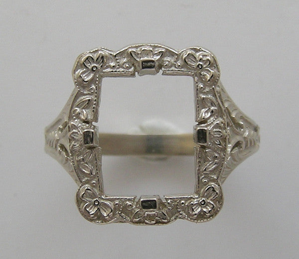 ART NOUVEAU STYLE FLORAL RING SETTING FOR A 10MM X 8MM EMERALD SHAPE