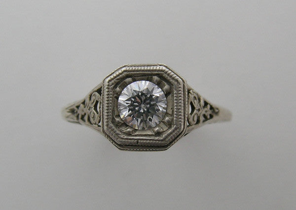 14K GOLD ART DECO STYLE RING SETTNG FILIGREE DETAILS