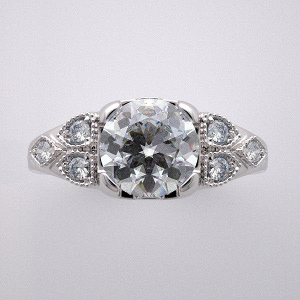 14k White Gold Art Deco style engagement ring setting for a round shape 1.00 Carat Diamond
