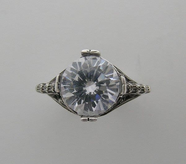 ROMANTIC ENGAGEMENT RING SETTING ART NOUVEAU STYLE FOR ROUND STONE
