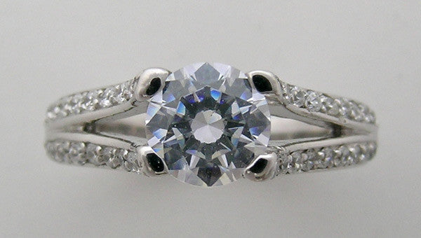 SPLIT SHANK DIAMOND ACCENT ENGAGEMENT RING OR RE-MOUNT SETTING
