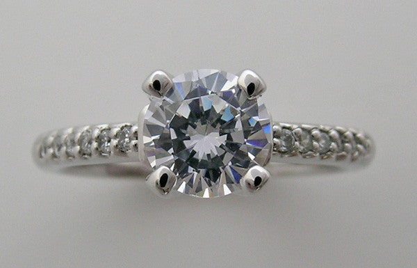 ENGAGMENT RING SETTING SOLITAIRE DESIGN WITH DIAMOND SHANK