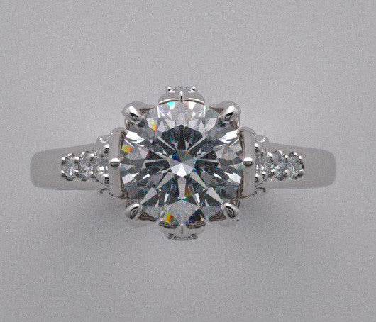 14K Designer Crown Motif Engagement Ring Setting with Accent Diamonds