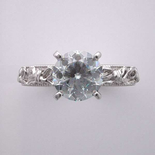ROMANTIC ENGAGEMENT RING SETTING VINTAGE BOW KNOT DESIGN