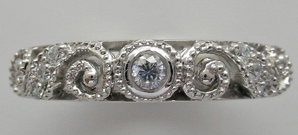 ANTIQUE STYLE DIAMOND WEDDING RING BAND MIL GRAIN DETAIL