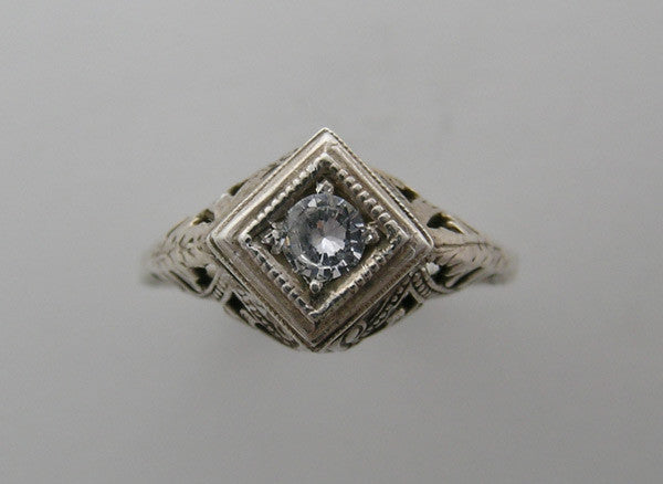 DIAMOND SHAPE 14K GOLD  OLD WORLD ART DECO ANTIQUE VINTAGE FILIGREE RING SETTING