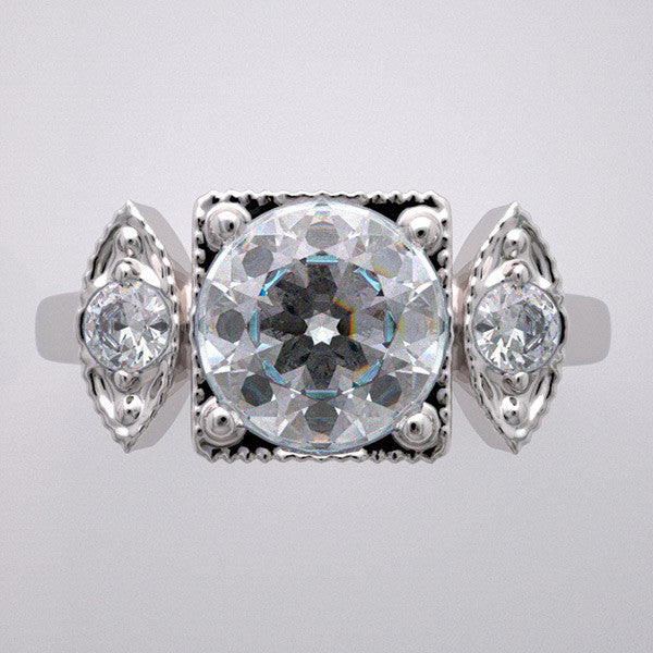 NON TRADITIONAL THREE STONE ENGAGEMENT RING SETTING ANTIQUE STYLE