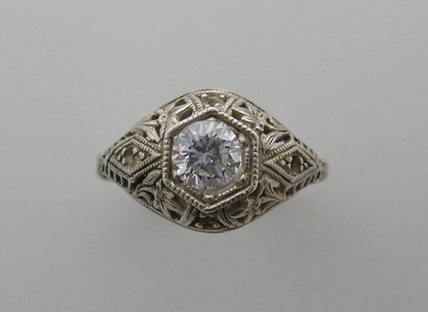 INTRICATE FEMININE MIL GRAIN FLORAL ENGAGEMENT RING SETTING ART DECO ANTIQUE VINTAGE STYLE