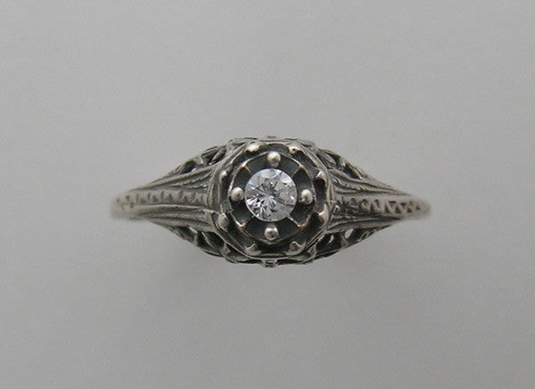 SIMPLE ART DECO ANTIQUE STYLE FILIGREE RING SETTING