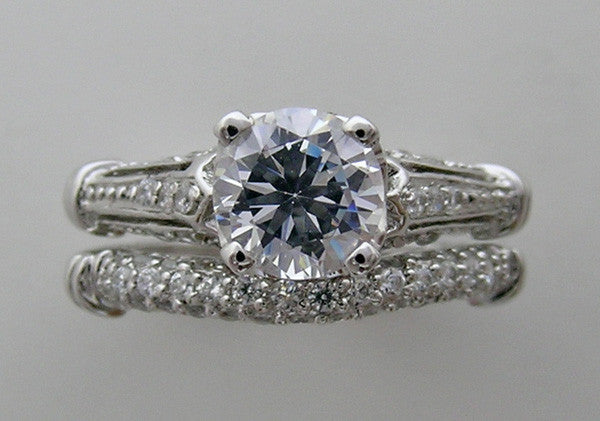ROMANTIC DIAMOND STUDDED BRIDAL WEDDING RING SETTING SET