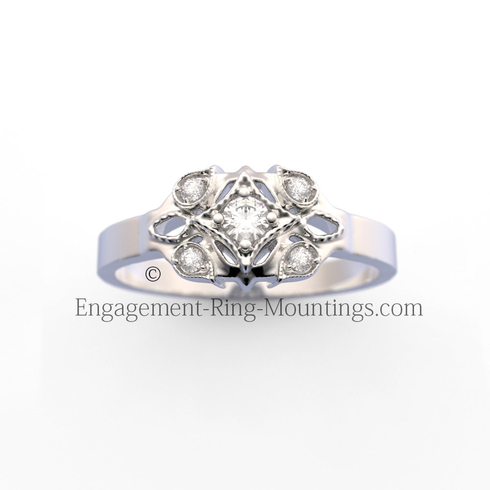 Old World Design Petite Diamond Ring