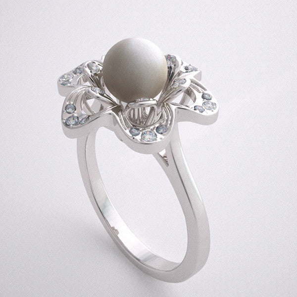 UNUSUAL CREATIVE PEARL DIAMOND ENGAGEMENT RING SETTING WITH FLORAL DESIGN