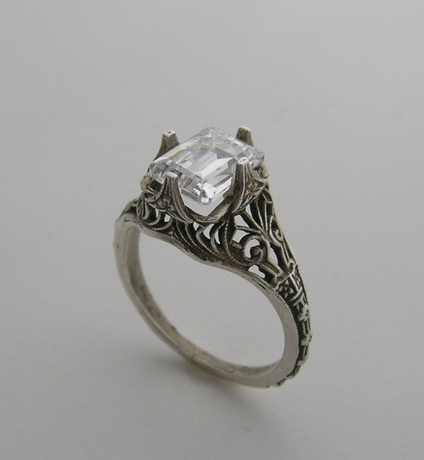 RING SETTING 14K WHITE OR YELLOW GOLD ANTIQUE VINTAGE STYLE FILIGREE EMERALD SHAPE CENTER STONE