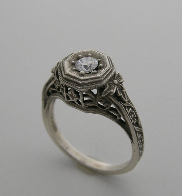 14K White Gold Art Nouveau Style Ring Mounting
