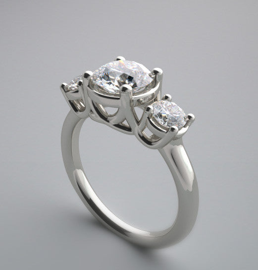 THREE STONE TRELLIS MOTIF ENGAGEMENT RING SETTING