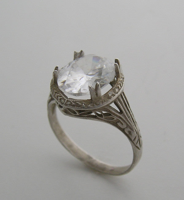FEMININE FILIGREE ENGRAVED ART DECO VINTAGE OLD WORLD STYLE RING SETTING