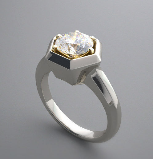 INTERESTING HEXAGONAL FRAMED SOLITAIRE ENGAGEMENT OR RIGHT HAND RING SETTING
