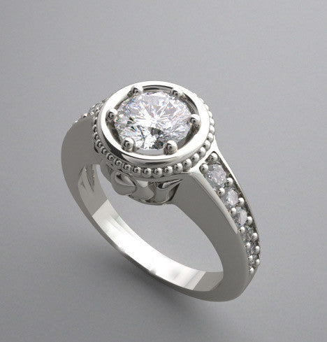 ENGAGEMENT RING SETTING WITH ELEGANT FEMININE DETAILS AND DIAMOND ACCENTS