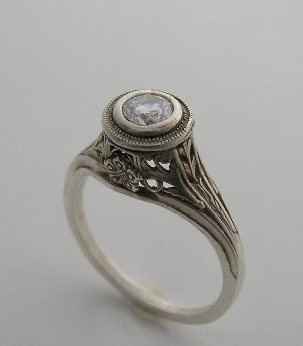 White Gold Vintage Ring Setting