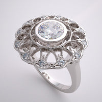 GOLD VINTAGE STYLE RING SETTING DIAMOND LACE ACCENTS