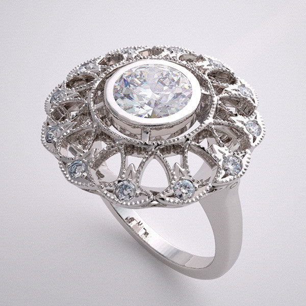 Platinum Diamond Lacey Ring Setting