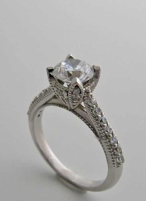 ENGAGEMENT RING SETTING WITH ENCRUSTED DIAMOND DETAILS