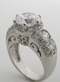SPECIAL ENGAGEMENT RING SETTING ART DECO ANTIQUE STYLE ENCRUSTED WITH ACCENT DIAMONDS