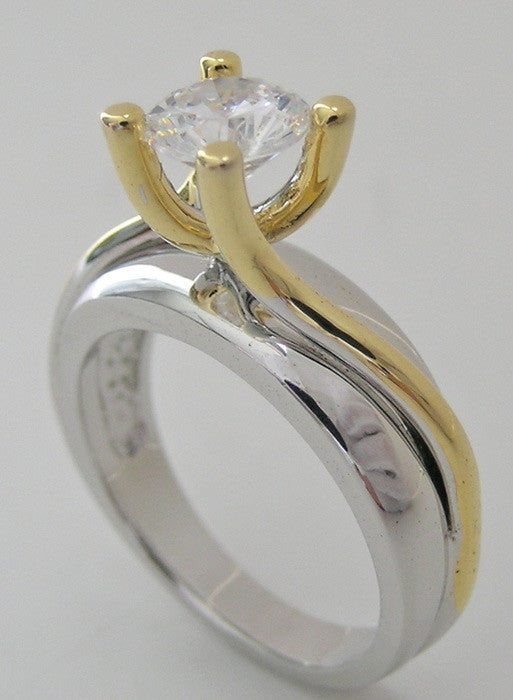 RING SETTING 14K TWO GOLD TWIST EFFECT FOUR PRONG