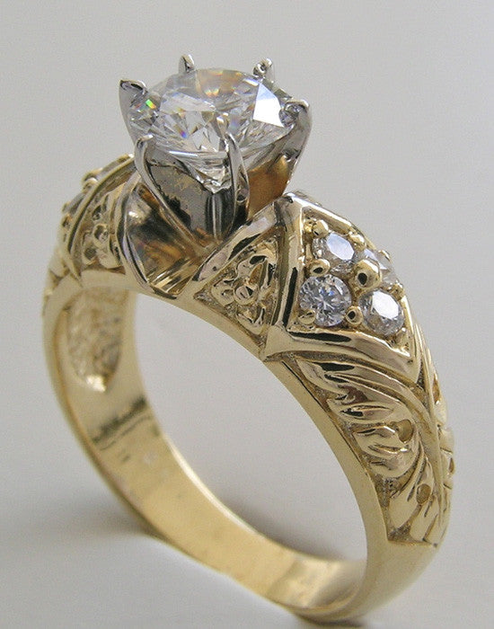 INTERESTING ENGAGEMENT RING SETTING DIAMOND ACCENT