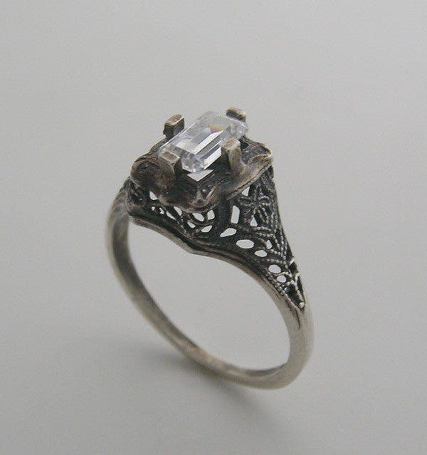 White Gold Antique Style Ring Setting