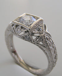 VINTAGE ART DECO STYLE FILIGREE DIAMOND RING SETTING