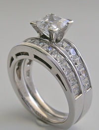 SPECIAL PRINCESS CUT DIAMOND ENGAGEMENT RING WEDDING SET