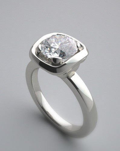 CONTEMPORARY RING SETTING SOLITAIRE BEZEL PRONG SET