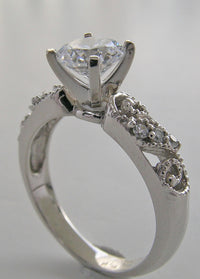 GOLD ART DECO STYLE ENGAGEMENT RING SETTING DIAMOND ACCENTS