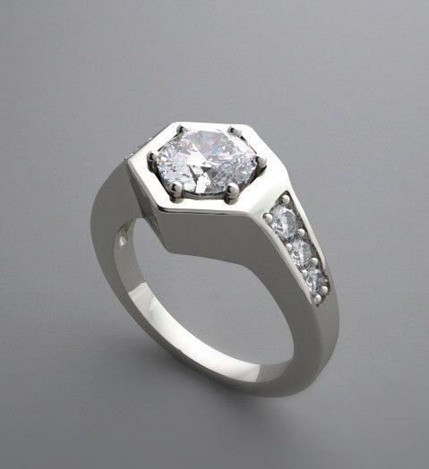 UNUSUAL HEXAGONAL FLUSH SET  PAVE DIAMOND ENGAGEMENT RING SETTING