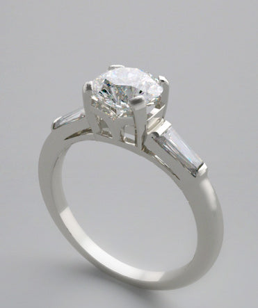 ENGAGEMENT RING SETTING WITH DIAMOND BAGUETTES