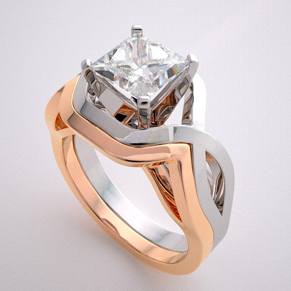 white and pink gold architectural ring setting set
