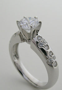 ENGAGEMENT RING SETTING UNUSUAL FLORAL DESIGN DIAMOND ACCENTS