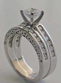 GOLD OR PLATINIUM FEMININE DIAMOND ENGAGEMENT RING SETTING SET