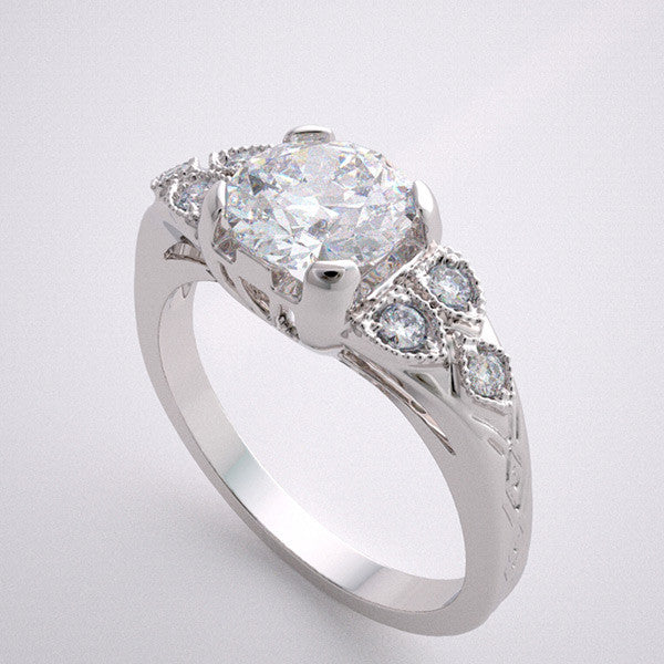 18K Art Deco style engagement ring setting for a round shape 1.00 Carat Diamond