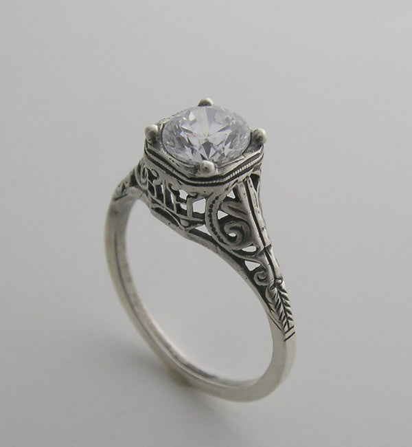 ENGAGEMENT RING SETTING FILIGREE ANTIQUE ART DECO STYLE 14K GOLD RING
