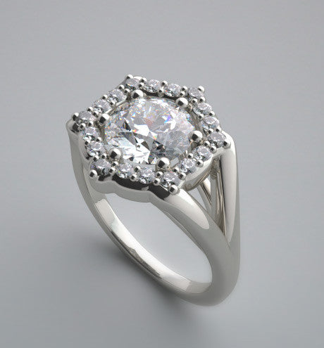 FEMININE ENGAGEMENT RING SETTING DIAMOND ACCENTS