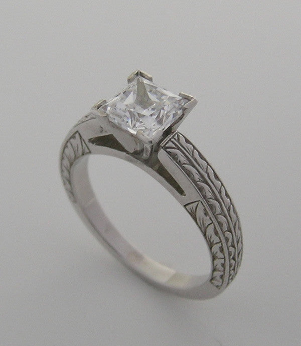ENGRAVED ENGAGEMENT RING SETTING ALL SHAPE AND SIZE CENTER STONES