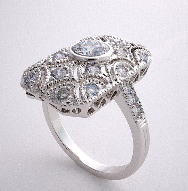 Gold Ring Setting Vintage Styling With diamonds