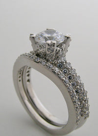 EXCITING DIAMOND ENGAGEMENT RING SETTING AND DIAMOND WEDDING RING SET