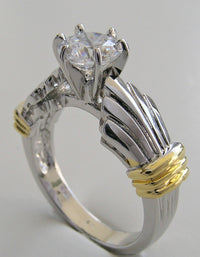 INTERESTING SHELL DESIGN  TWO TONE  GOLD ENGAGEMENT RING SETTING