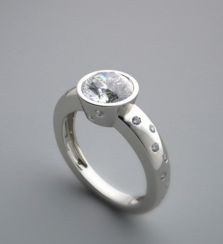 PRETTY BEZEL ENGAGEMENT RING SETTING WITH FLOATING DIAMONDS