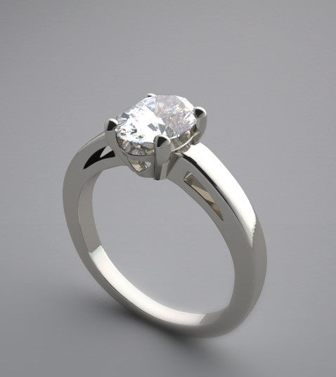ELEGANT SOLITAIRE OVAL SHAPE DIAMOND ENGAGEMENT RING SETTING